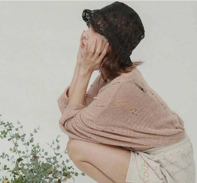 หมวกผ้าลูกไม้ซีทรู แมทช์กับอะไรก็สวย