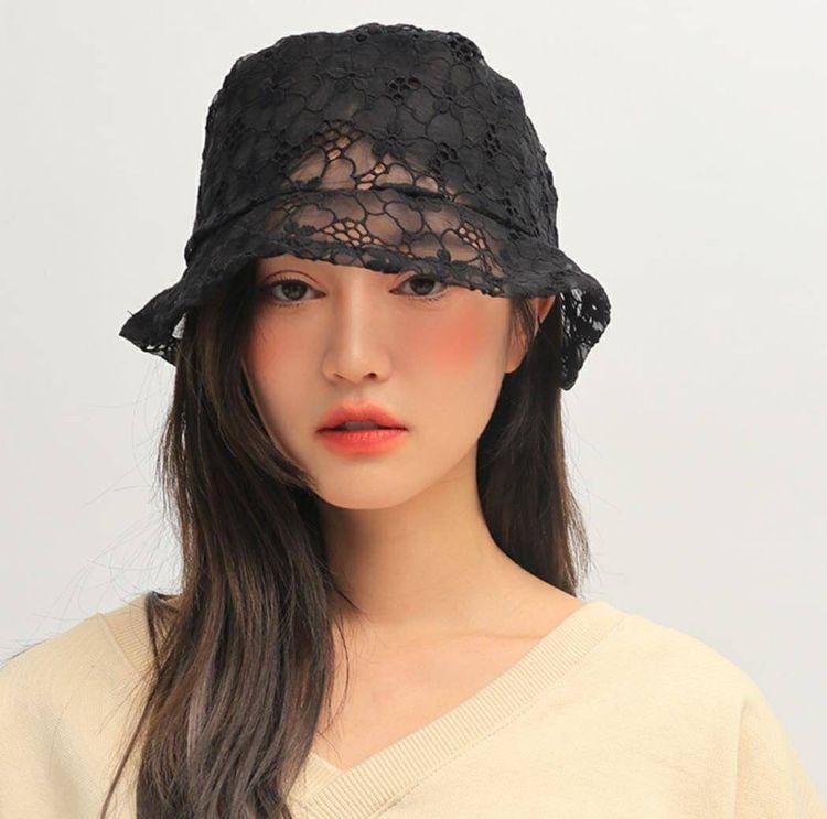 มาแรงมาก หมวกผ้าลูกไม้ซีทรู สีดำ