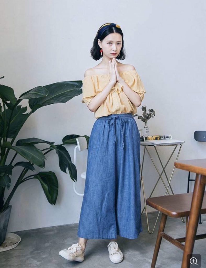 เสื้อปาดไหล่  แนววินเทจน่ารักใสๆ