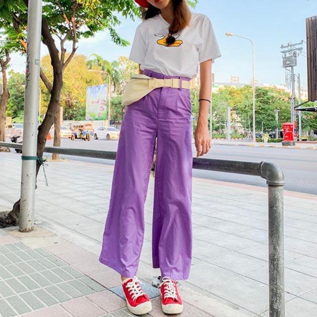แฟชั่นสีม่วง (Purple Girl)กับกางเกงม่วง