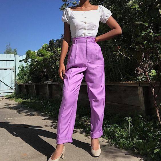 แฟชั่นสีม่วง กับกางเกงม่วงสดใส