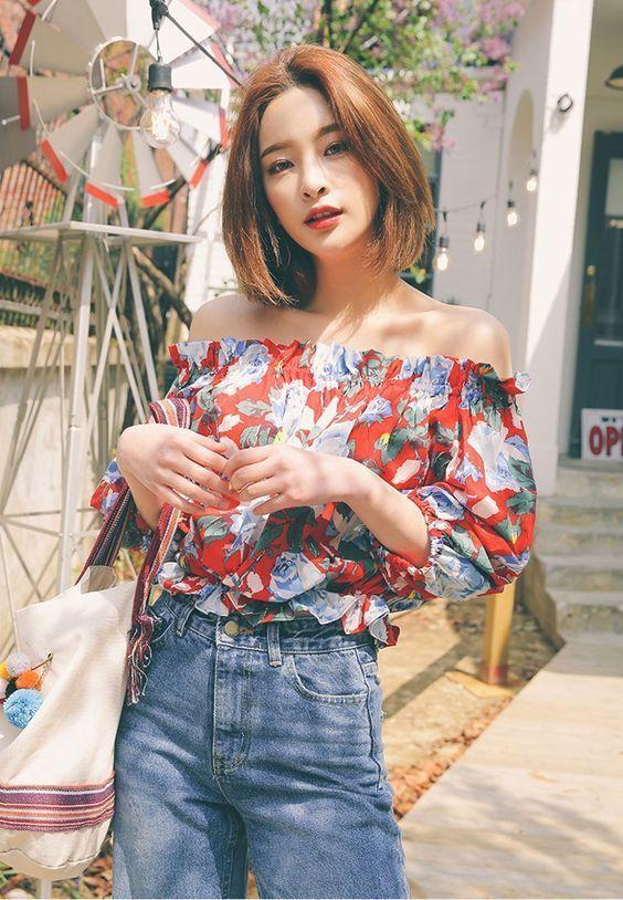 เสื้อปาดไหล่  แนววินเทจน่ารัก