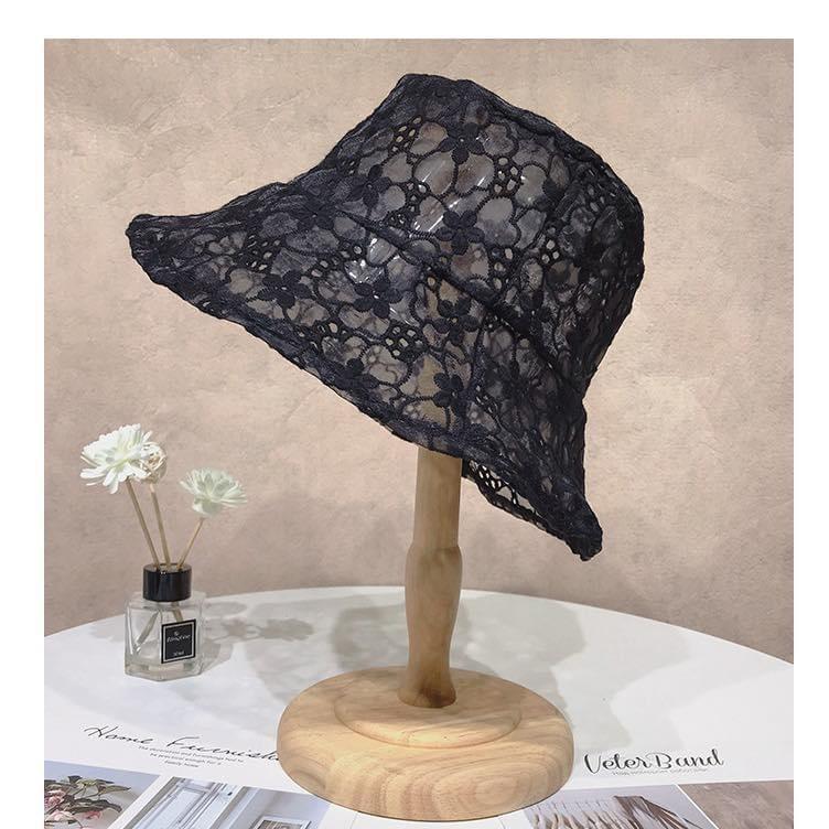 หมวกผ้าลูกไม้ซีทรู สีดำ