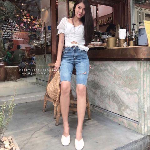 กางเกงยีนส์ขาสั้น 2020 ขาสามส่วนในลุคสวยหวาน