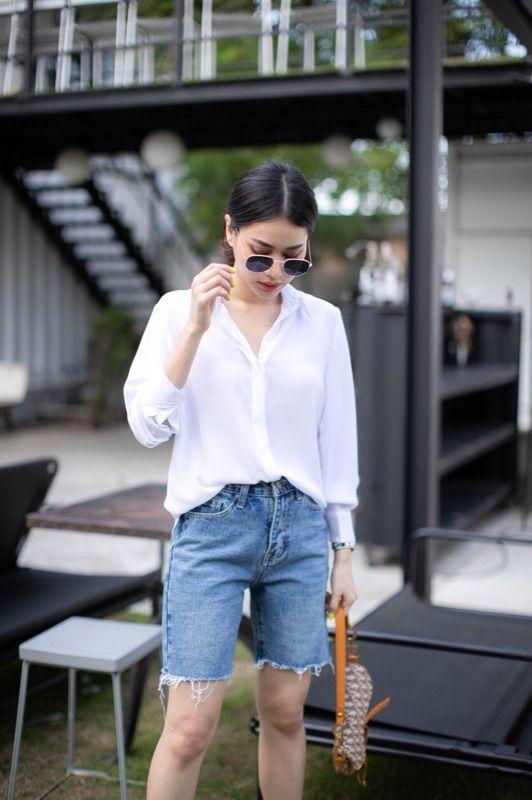 กางเกงยีนส์ขาสั้น 2020 สามส่วนใสลุคเท่