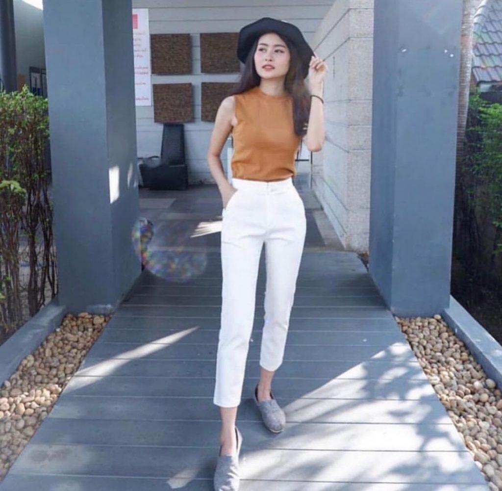 กางเกงสีขาว สไตล์สาวเท่มั่น