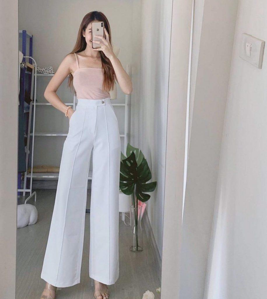 ไอเดียการมิกซ์แอนด์แมซด์ กางเกงสีขาว แบบง่ายๆแต่ได้ลุคคุณหนู