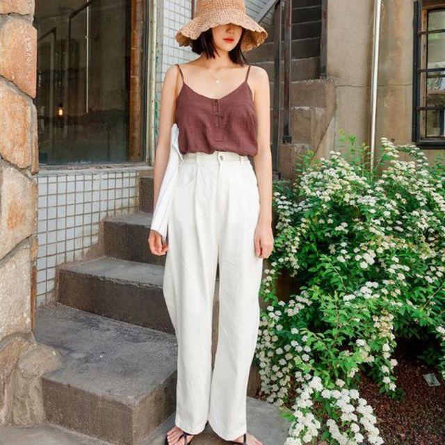 ไอเดียการมิกซ์แอนด์แมซด์ กางเกงสีขาว แนวน่ารัก