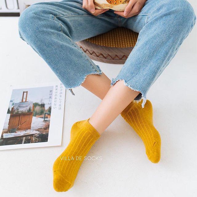 ถุงเท้าสีพาสเทล ปี 2020 สีล้วน