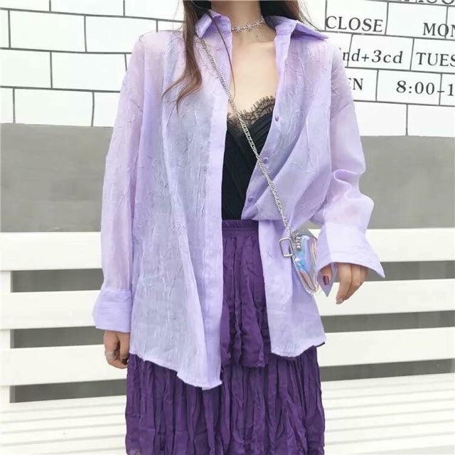 เสื้อเชิ้ตผ้าชีฟอง ไอเทมสวย เสื้อคลุม น่ารักมาก