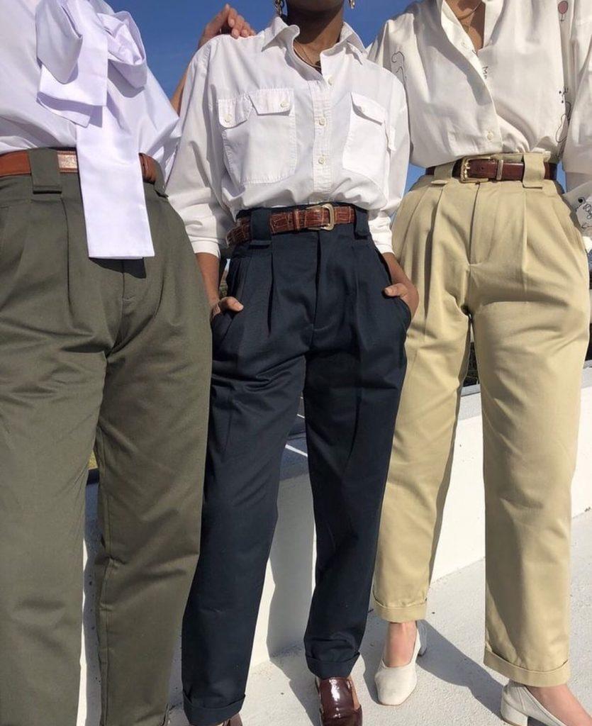 กางเกงทรงลุงขายาว กับเสื้อเชิ้ตแน่ววินเทจสุด