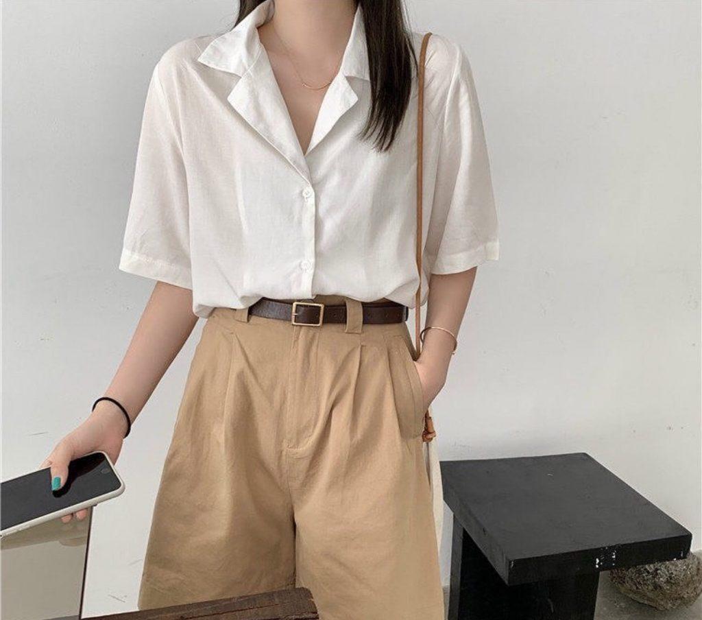 กางเกงทรงลุงขายาว กับเสื้อเชิ้ตสีขาวละมุน