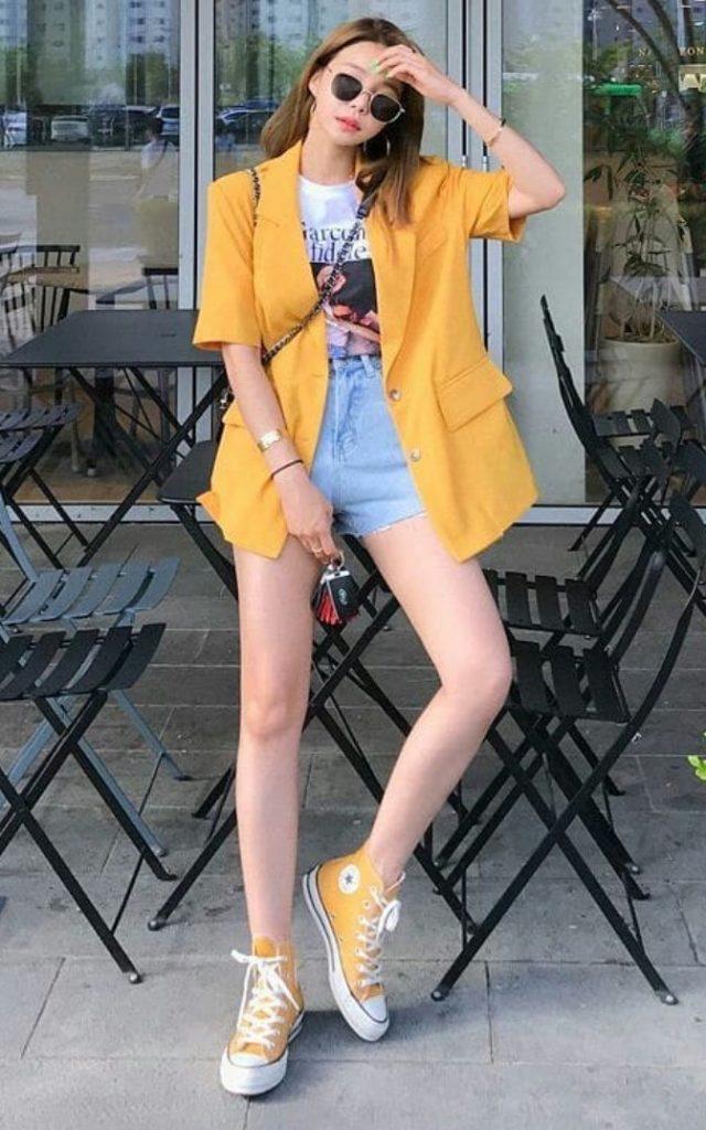 แฟชั่นสีเหลือง 2020 เสื้อคลุมสวยมาก