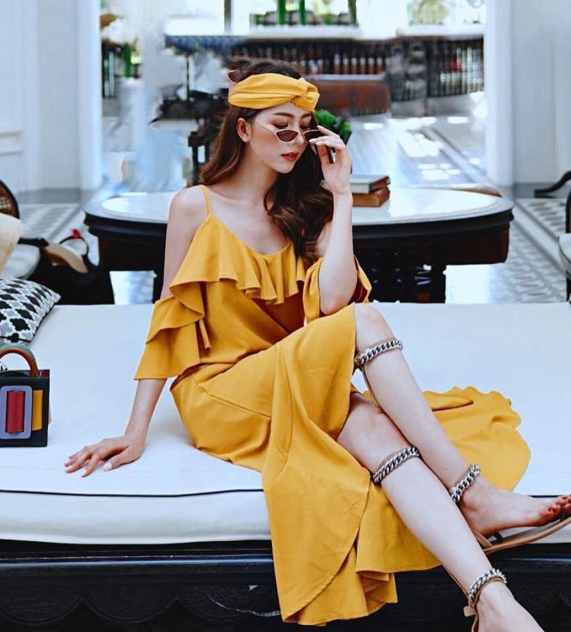 แฟชั่นสีเหลือง 2020 ชุดแซกสวยๆ