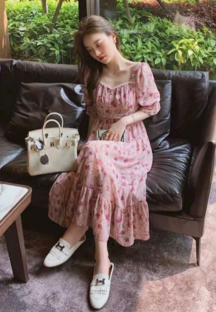 เดรสสีชมพู  ผ้าชีฟองแบบยาว
