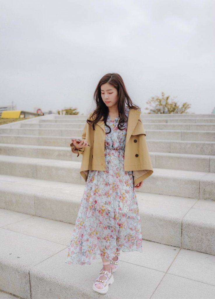 ชุดเดรสผ้าชีฟอง แบบยาวเทรนด์เกาหลี
