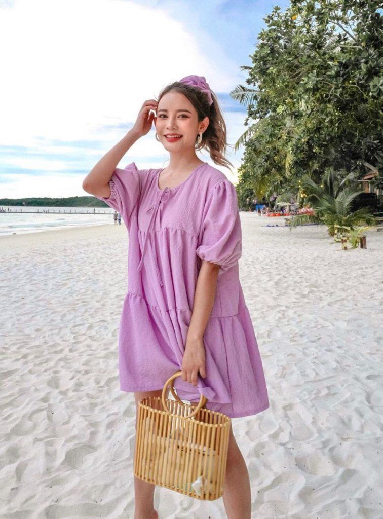 เดรสสีม่วง (Purple dress) รุ่นใหม่ 2020