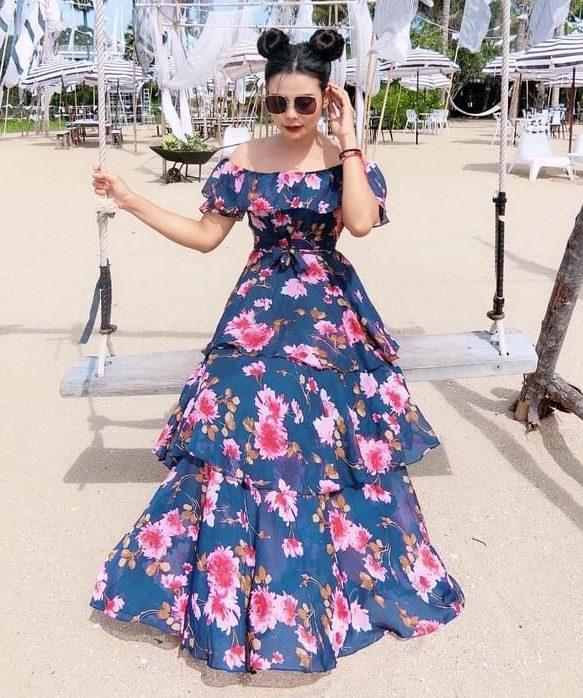 แฟชั่น เดรสยาวสวยๆ (Maxi dress)  สีไหนก็สวยทุกสี