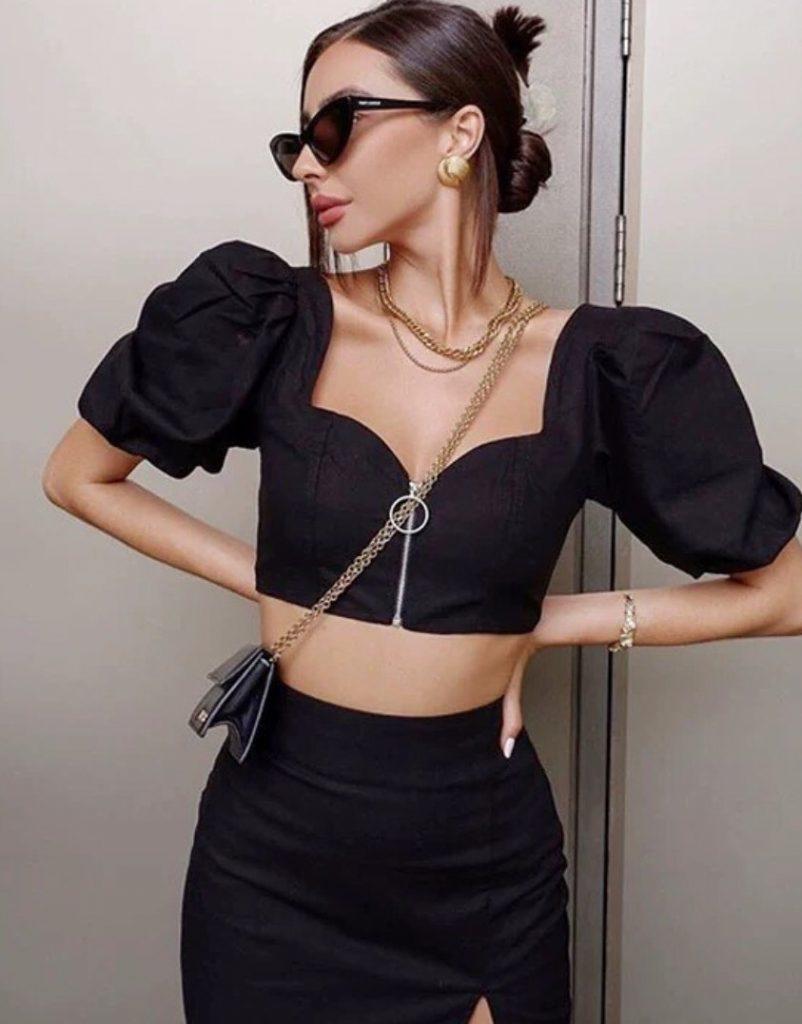 เสื้อสีดำ สไตล์สาวสายฝอ ใส่ทั้งชุดเริ่ดสุด