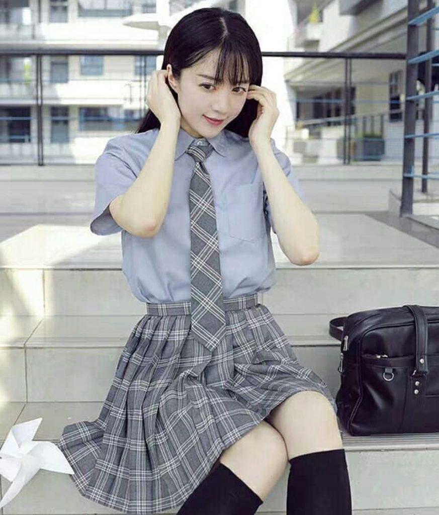 ชุดนักศึกษาญี่ปุ่น กระโปร่งลายสก๊อต สวยเก๋