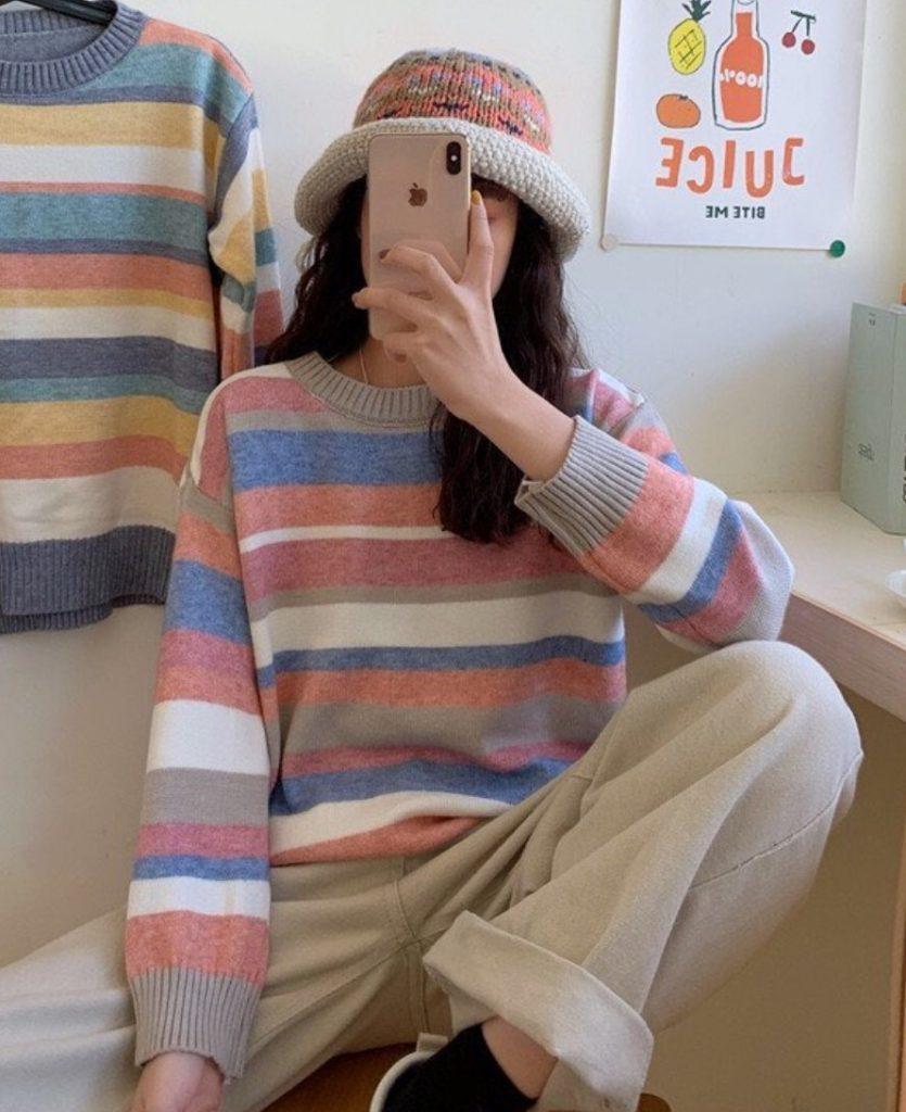 เสื้อไหมพรมแขนยาว ลายทางสีสวยละมุน