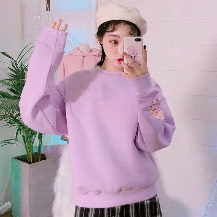 เสื้อกันหนาวสีม่วงแบบสวมใส่สวยมากๆ