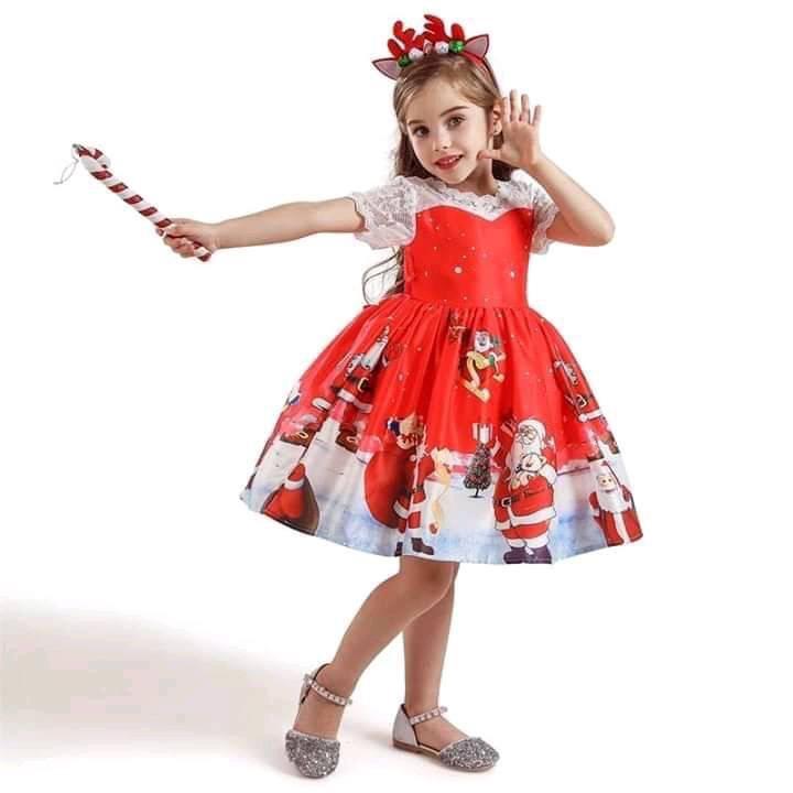 ชุดคริสต์มาสเด็กสีแดงสำหรับเด็กหญิง