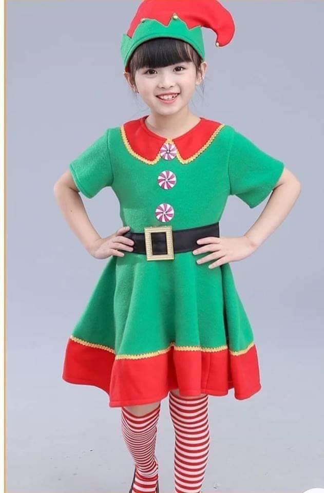 ชุดคริสต์มาสเด็ก สีเขียวสำหรับเด็กโต