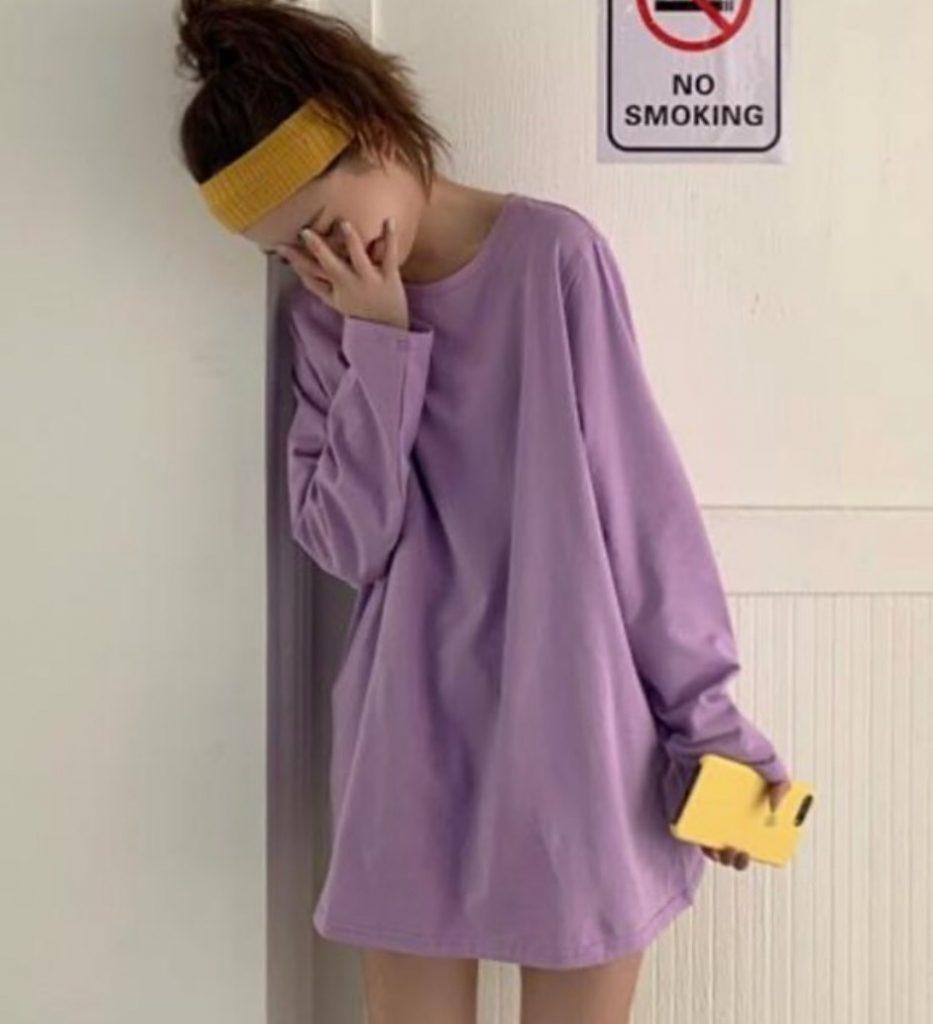 เสื้อกันหนาวสีม่วง แบบเสื้อโอเวอร์ไซส์ สวยน่ารัก