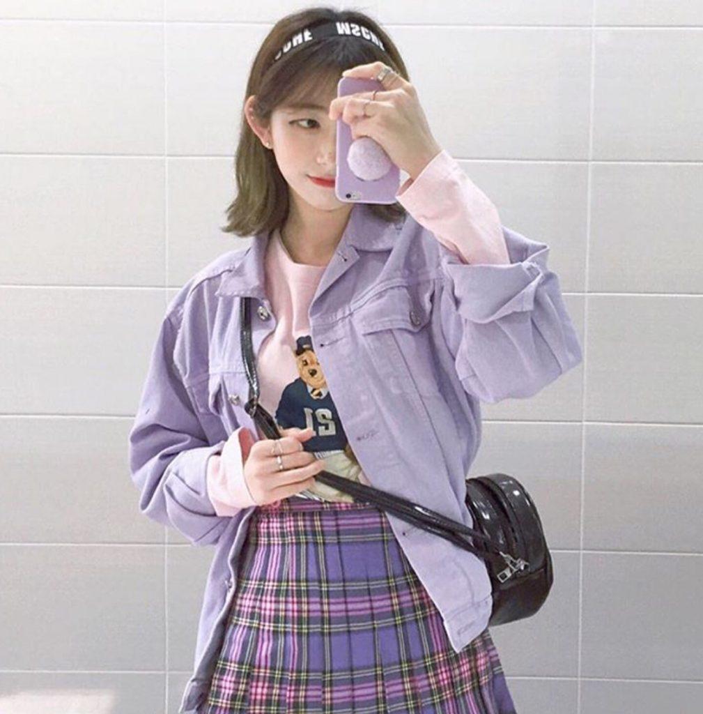 เสื้อกันหนาวสีม่วงแบบผ้ายีนส์น่ารักสุดๆ