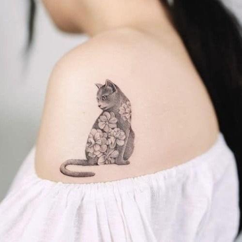 รอยสักรูปสัตว์ รูปแมวน่ารัก