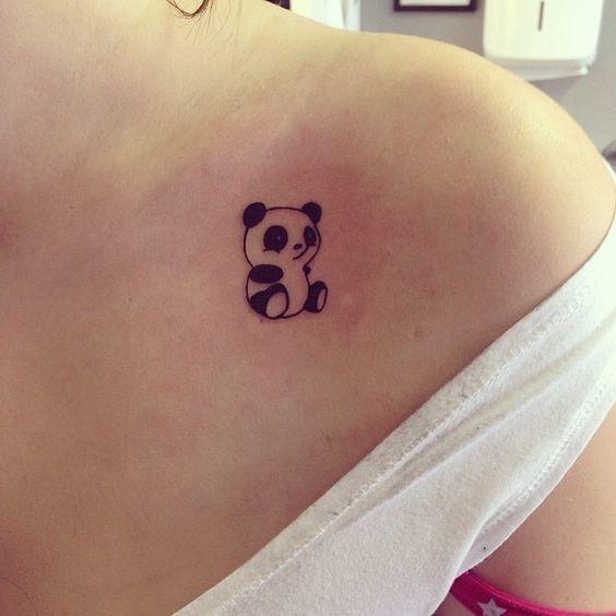 รอยสักรูปสัตว์รูปหมีแพนด้าน่ารัก