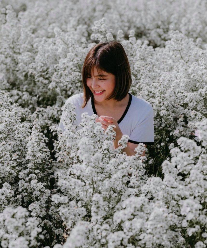 ถ่ายรูปกับทุ่งดอกไม้ใช้สายตามองที่ดอกไม้