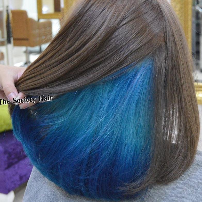 ผมซ่อนสี กับสีฟ้า ที่สวยเท่สุดๆ