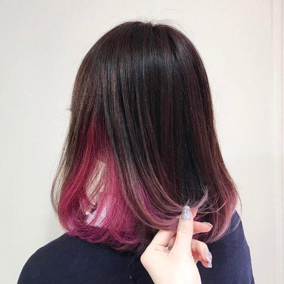 ผมซ่อนสี กับสีชมพูดูสดใส