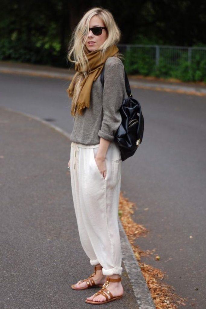 แฟชั่นผ้าลินินแบบกางเกงใส่สบาย